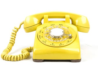 Beautifully Restored & Refurbished Vintage Rotary Dial Phone in perfect working condition - Yellow
