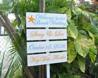 Welcome to Our Beach Wedding Directional Sign, Wood Wedding Signage, Personalised Gift Idea