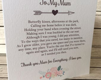 Vintage Rustic To My Mum Wedding Day Poem Card