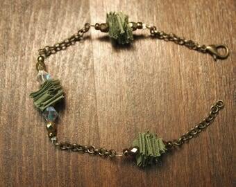 Khaki and bronze bracelet unique!