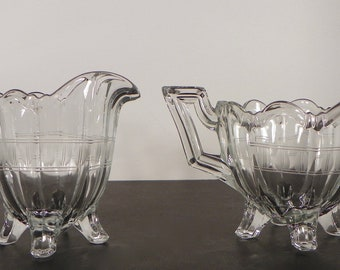 Indiana Glass #125 Open Sugar Bowl and Creamer Set Cut Lines Laurels Chippendale Toed Antique