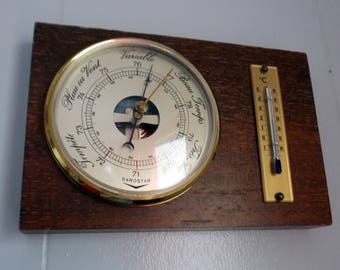 Vintage French mid century wooden barometer and thermometer, weather station
