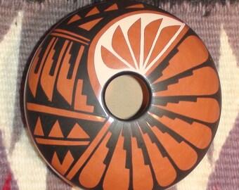 Native American Jemez Pueblo Pottery Vase 2 X 3 1/2 Inches Mary H Loretto