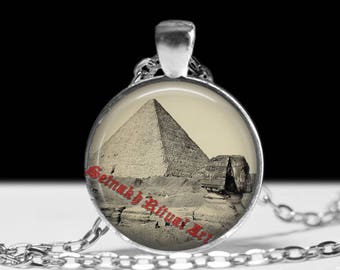 Pyramid necklace, Egyptian jewelry, Sphinx pendant #488
