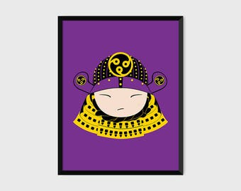 Japanese Samurai Warrior Print Pop Art Illustration Poster