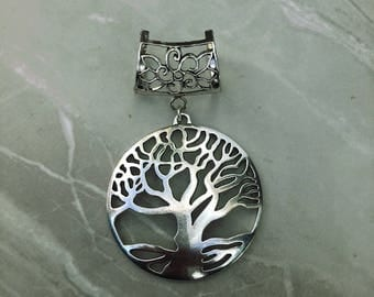Silver scarf etsy silver tree of life scarf bail silver scarf bail scarf pendant scarf ring mozeypictures Choice Image