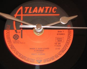 "Percy Sledge when a man loves a woman   7"" vinyl record clock"