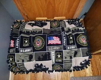 US Army fleece dog bed