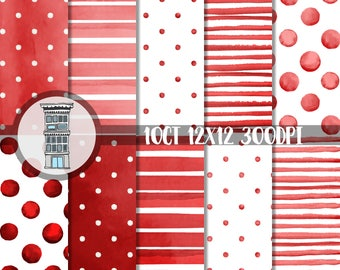 Watercolor Scarlet Red Digital Paper Pack INSTANT digital DOWNLOAD Ruby red Watercolor Polka dots Watercolor RED stripes backgrounds papel