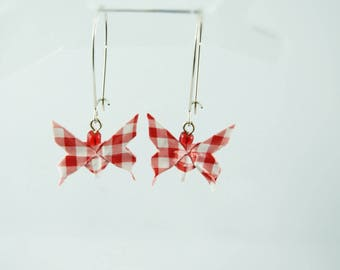 Origami paper, red gingham butterfly earrings