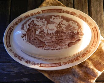 Alfred Meakin 'Sailor's Fairwell' Fair Winds Oval Brown Butter Dish with Lid