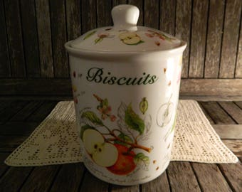 The Leonardo Collection Bone China Biscuit Barrel with Lid Apples Fruit Flowers Design