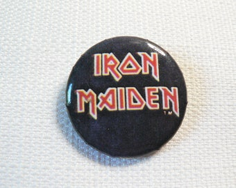 Vintage 80s Iron Maiden Logo - Pin / Button / Badge