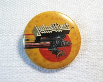 Vintage 80s Judas Priest / Screaming for Vengeance Album (1982) Pin / Button / Badge - Date Stamped 1982