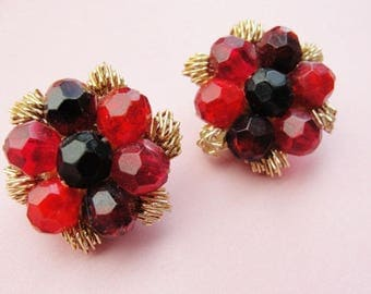 Vintage Clip On Red and Gold Cluster Earrings 1960s Costume Jewelry