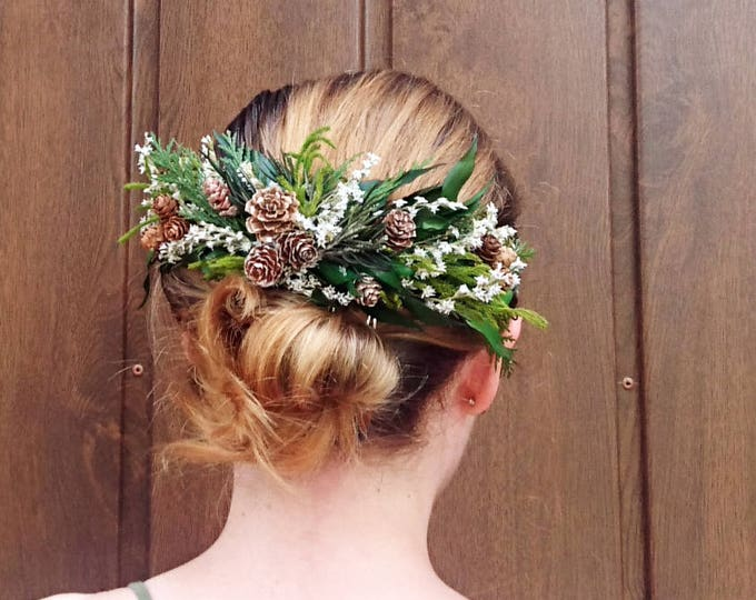 Conifer hair comb woodland wedding natural thuja greenery bridal hairpiece green preserved real leafs pine cones organic eco style winter