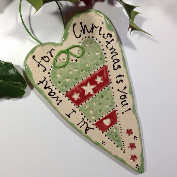 Handmade Ceramic Hanging Heart, pattern, colour, folk art, Christmas, tree ornament, Xmas decoration, fun gift
