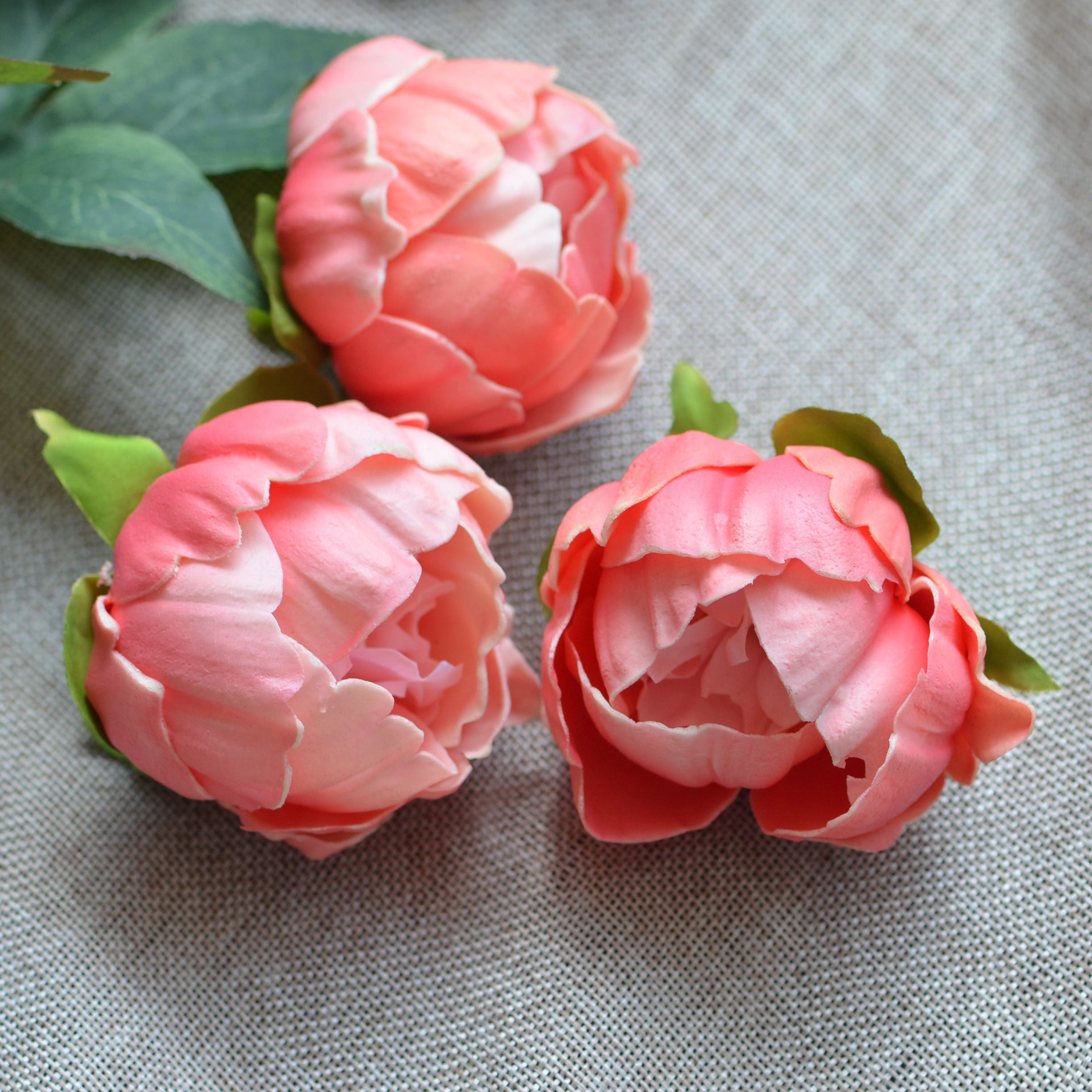 Coral Peony Blooms Real Touch Flowers Peonies Cake Toppers Peonies ...