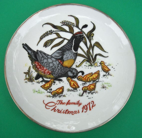 Christmas 1972 Gambel's Quails and chicks Collectible Plate: The Family Christmas 1972 by Kay Mallek Original 132 First Issue
