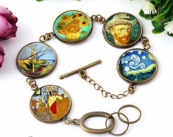 Van Gogh Jewelry, Van Gogh Bracelet, Famous Artist, Gift for Artist, Impressionist painters, Vincent Van Gogh, Cabochon bracelets