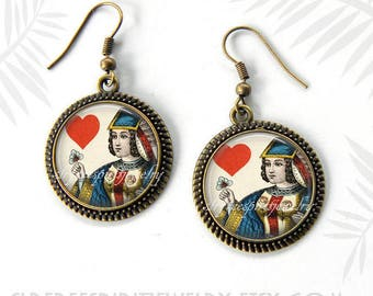 Queen of Hearts Earrings, Queen of Hearts Cuff Bracelet, Antique Playing Cards,  Cassino gift for women, Queen of Hearts, Card Suits