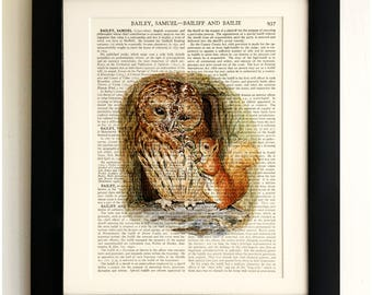 FRAMED ART PRINT on old antique book page - Beatrix Potter, The Tale of Squirrel Nutkin, Vintage Wall Art Print Encyclopaedia Dictionary