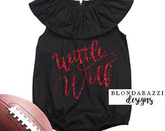 Wittle Wolf NC State Baby Girl Toddler Wolfpack Game Day Ruffle Romper Outfit