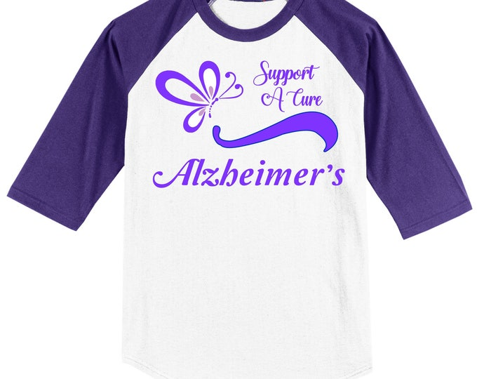 Alzheimer's Awareness Raglan T shirt (3/4 sleeve) - Support A Cure - Alzheimer's - white with purple sleeves sizes YXS - Adult 6X - 0616
