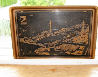 1933 Chicago Century of Progress Metal Pen Tray Overhead view of the Fair, Vintage Chicago, Vintage World's Fair