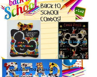 Mickey Mouse Triple Threat Back to School Combo -- Teacher Sign+Class Rules+Set of 4 READ Letters