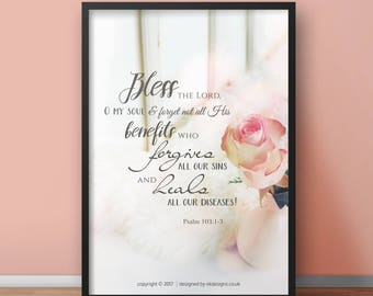 NEW Psalm 103:2-3 A4 Christian Poster - Glossy