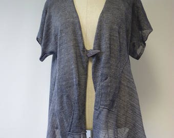 Casual handmade jeans coloured linen vest, XXL size.