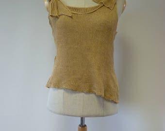 Special price. Summer light cammel linen top, L size.