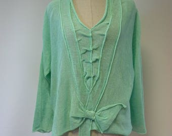 Special price. Handmade mint linen sweater, L size.