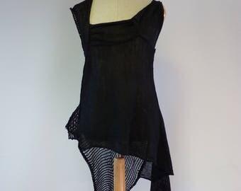 Boho black linen transparent top, L size.