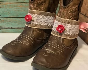 Boot jewelry , boot chain, boot bracelet, boot bling, boot wrap- can fit a Child boot (shown)  OR Adult boot! Pair (2)