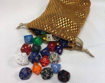 Gold Spandex Dice Bag