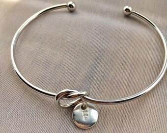 Knot Bracelet, Knot Bangle, Initial Bracelet, Bridesmaid Gift, Bridesmaid Bracelet, Bridesmaid Jewellery, Birthday Gift
