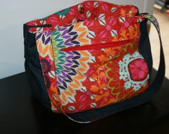 Great bag in orange cotton fabric and jeans