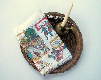 Vintage 1970's Linen Tea Towel Historical America Spirit of 76 Patriotic Collectible Kitchen Linens Bi-Centennial Wall Hanging
