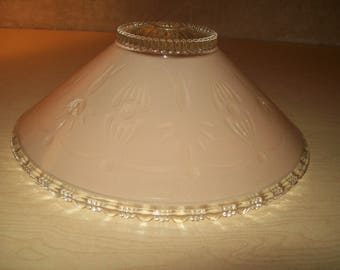 Vintage~Mid Century~Art Deco~Pinkish Beige Tone~Cut Glass~Ceiling Light Shade~Frosted~Very Nice~Mod~Pink~