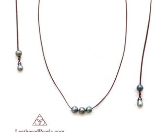 Tahitian Pearl and Leather Necklace/ Lariat