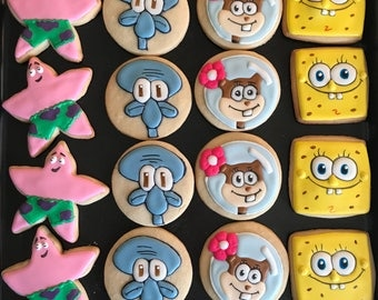 12 SPONGEBOB squarepants vanilla sugar inspired cookies - birthday party - under the sea - favors - gift squidward patrick sandy