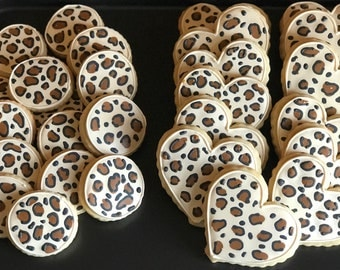 12 SAFARI chic LEOPARD print cookies - any shape CHEETAH  print or 18 small bite sized vanilla sugar cookies  - zoo - zebra - leopard - tige