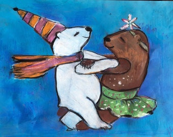 dancing animals, picture, pastels