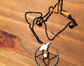 Dream catcher necklace black white and gold