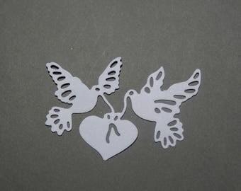Cut paper Dove heart Ribbon