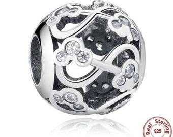 925 Sterling Silver Minnie & Mickey Infinity Charm fit Pandora Bracelet ,Disney Charm First Anniversary Gift for Her, Pandora Beads