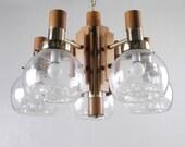 WOODEN FIVE ARM Chandelier Murano Glass Stripe Italian Chrome Mid century Modern Light