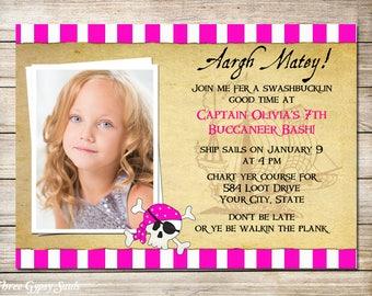 Girl Pirate Invitation Pink Pirate Birthday Invitation Pink Pirate Invite Printable Invitation